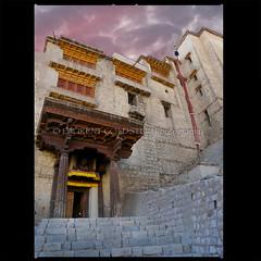 Merit and Wisdom (designldg) Tags: door travel sunset sky sculpture india building heritage architecture clouds evening colours atmosphere palace silence soul tibetan himalaya shanti leh ladakh artcrafts tibetanplateau indiasong