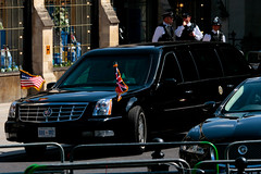 The Beast (Mikepaws) Tags: city uk england usa london president presidential firstday obama limousine secretservice thebeast motorcade armouredcar bodyguards statevisit captial wesminsterabbey presidentialvisit caddiac