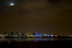 Liverpool Skyline (Jeffdalt) Tags: city uk blue england sky black building tower water architecture modern night clouds liverpool river capital culture celebration british liverbird 2009 mersey graces merseyside handover buildingexterior liverpool08 simplystunningshots