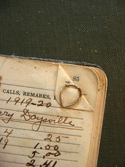 paperclip c. 1919-20 (harthillsouth) Tags: writing handwriting vintage words call pages numbers 85 paperclip remarks 191920 accountbook daysville