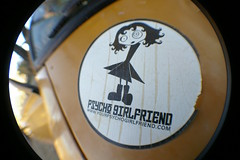 Psycho Girlfriend! (Shutter Theory) Tags: fish eye sticker pickup fisheye 1973 datsun butterscotch 620 l20b lakehughes bulletside club16 pl620