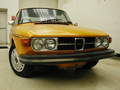 My Saab 99 before destroying the bodysides (interpolactic) Tags: door sunset two orange classic car 1974 michigan detroit 99 le restoration ems saab scandanavian notchback