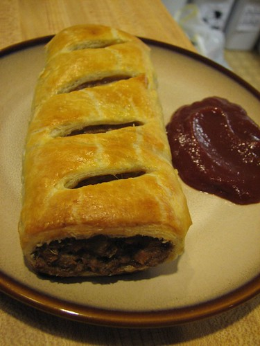 vegetarian sauage roll from the end