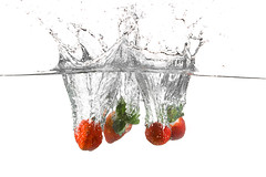 Strawberry splash (Dan. D.) Tags: red white water canon studio strawberry waterdrop flash drop 5d setup splash 580ex strobist eldano