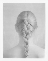 Braid (lost in pixels) Tags: people blackandwhite bw woman speed polaroid back graphic 4x5 ponytail expired largeformat braid graflex polapan pro100 eoshe panpola