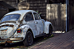 Broke Down VW Bug (Mark Koberg) Tags: old light car 85mm 12 vwbeetle