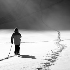 trek (jenny downing) Tags: winter shadow blackandwhite snow france cold trek walk patterns hill footprints freezing windy powder hike trail footsteps chilly icy snowshoes slope breezy sunbeams lowsun wintery wintry infrance offthebeatentrack jennypics abigfave takeninfrance patternsinthesnow jennydowning bleachedofcolour photobyjennydowning