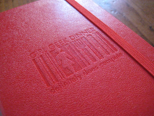 Close-up of the Embossed Personalized Moleskines for Girl Geek Dinners Milano