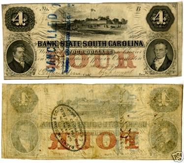 South Carolina Four Dollar note
