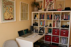 Home office detail (Fazal Khan) Tags: art ikea home apple studio powerbook design office mac apartment pro shelving organisation macbook