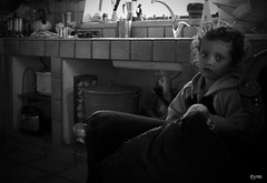 Waiting for Daddy (Yaniv Ben Simon) Tags: portrait bw kitchen girl israel kid child kiddy couch sofa yanivbensimon ramathgolan wwwybscoil