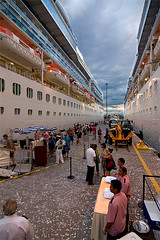 Berthed Twins (photo.klick) Tags: cruise vacation clouds dock costarica ship dusk photoblog puntarenas jol centralamerica steward berth princesscruises centroamerica coralprincess islandpricess katsingercom