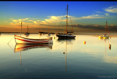 The golden hour ......... (Nicolas Valentin) Tags: england norfolk boats sea water reflection blue bleu uk sky wellsnextthesea sublime hero winner buoyant