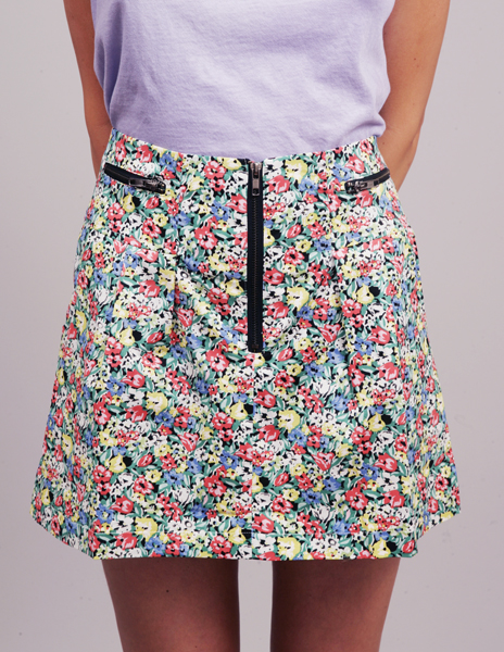 Flower zip skirt