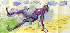 Purple People eater (michaelnightmare) Tags: moleskine beach girl monster watercolor nude sketch purple wine drawing exchange molyx nightmarephotography molyexchange