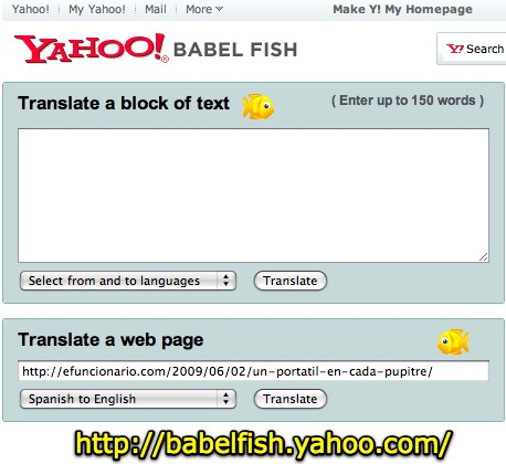 Yahoo! Babel Fish - Text Translation and Web Page Translation