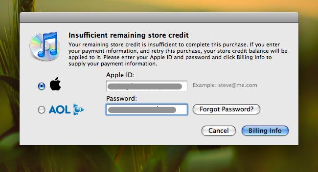 iTunes Insuffient Credit
