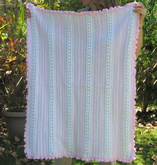 Crochet Baby Blanket, Pink & White, Heirloom 14 (DonidoDesigns) Tags: pink baby white handmade crochet knit craft lap homemade blanket afghan etsy knitted crafting cic heirloomquality cicteam craftingincolor