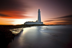 ST Mary's Lighthouse Burns (dan barron photography - landscape work) Tags: ocean longexposure sunset seascape clouds landscape bay nikon rocks colours web northumberland burn stmaryslighthouse whitley d90 nothdr 10stop