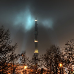 Hazy Ostankino Tower (christian.senger) Tags: travel light sky tower architecture night clouds digital geotagged outdoors haze nikon europe russia moscow turquoise frombelow hdr d300 photomatix ostankino nikoncapturenx2 christian_senger:year=2009 osm:way=42220517