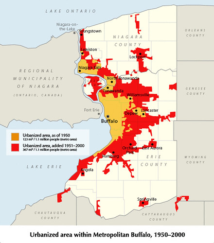 growth in developed land (red) despite stable population, Buffalo (via Joe the Planner)
