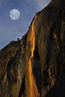 Full Moon Over Horse Tail Falls At Last Light, Yosemite NP