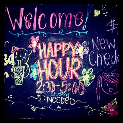 Project 365 150/365: Welcome to Happy Hour chalkboard at Juice It Up today. They were very creative with their chalk.