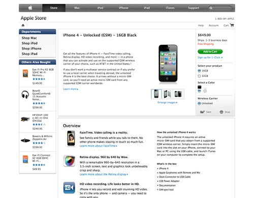 iPhone 4 - Unlocked (GSM) - 16GB Black - Apple Store (U.S.)