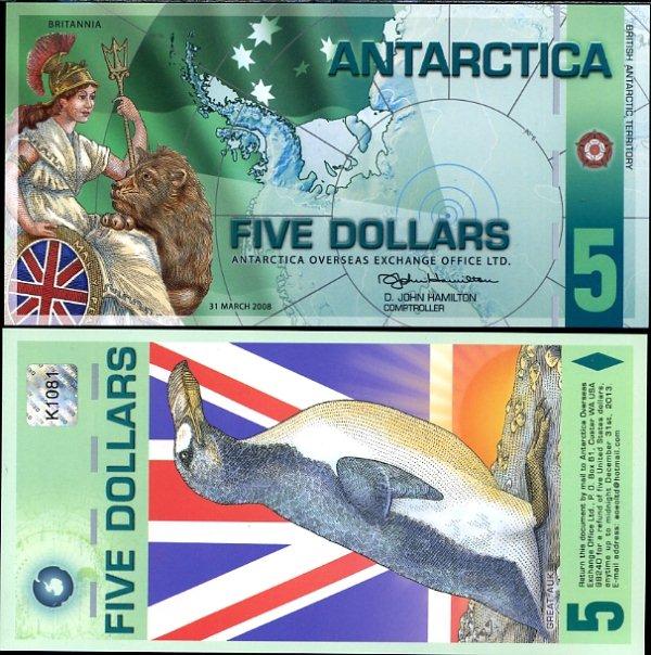 Antarctica 5 dollars 2008