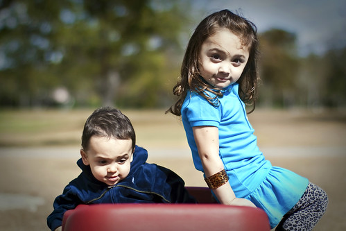 Boy & Girl in Wagon
