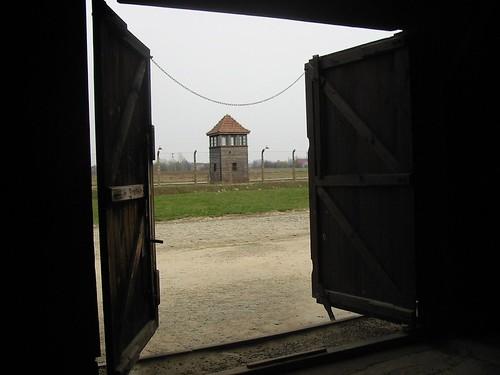 Foto vanuit de barakken
