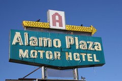 alamo plaza motor hotel neon sign
