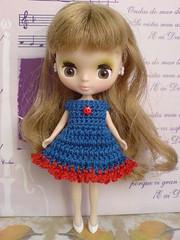 Petite Blythe Crochet Dress Colour Expression blue/red (to UK)