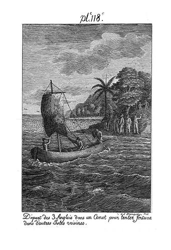 010- Partida de tres ingleses en una canoa para llegar a otras islas vecinas