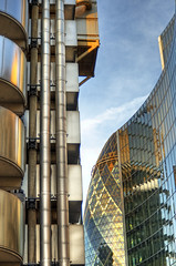 Lloyds and the City (almonkey) Tags: city urban reflection building london lines clouds nikon curves pipes tubes bluesky avenue gherkin hdr levels willis offices lloydsbuilding intersecting fenchurch 24120mm d700