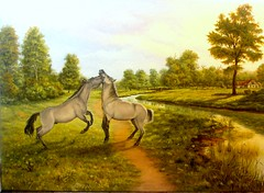 tablou cai 2 (gyurka2) Tags: horses art water rural river painting landscape surrealism surreal canvas shore oil buy sell symbolic