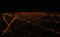 Chicago at night from the air (Laurence's Pictures) Tags: above county street city lake chicago black streets night airplane landscape lights fly illinois airport pattern view michigan maps flight cook aerial ohare landing american airlines ord