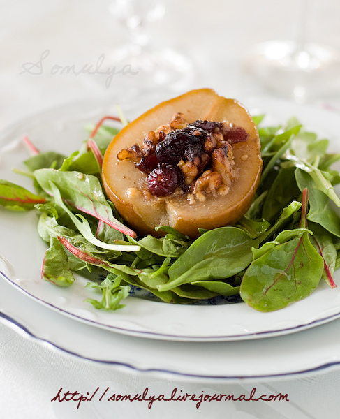 Salad of Roasted Pears With Blue Cheese