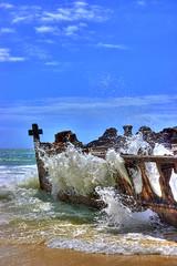 Splash - HDR (sandra.melcer) Tags: ocean blue island meer australia ruine australien fraser blau splash schiff hdr highdynamicrange wrack schiffswrack spritzen fraserinsel