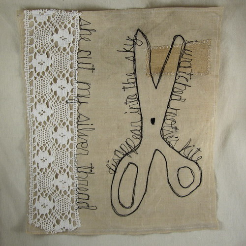 An Old Pair of Scissors-embroidered drawing by la pomme.