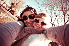 65 365 - Me and my girl (Ly (Lyanne Wylde Photography)) Tags: me sunglasses happy arms distorted daughter wide smiles violet 11m ly lyanne tokina1116mm 6march09 iloveyouvbw
