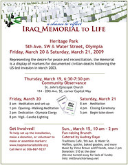 Iraq Memorial to Life (event flyer)