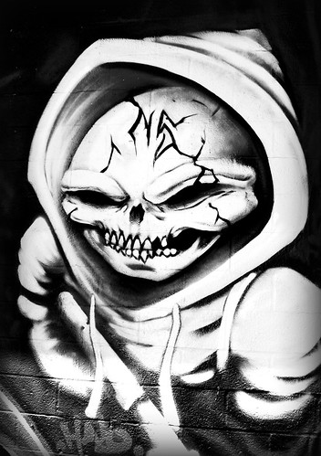 black and white graffiti characters. Character by Halo -Houston