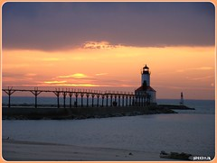 Sunset at Michigan City, Indiana East Pierhead Lighthouse (1904) (SpeedyJR) Tags: sky sun lighthouses sunsets indiana lakemichigan greatlake michigancityindiana naturewatcher everythingindiana speedyjr