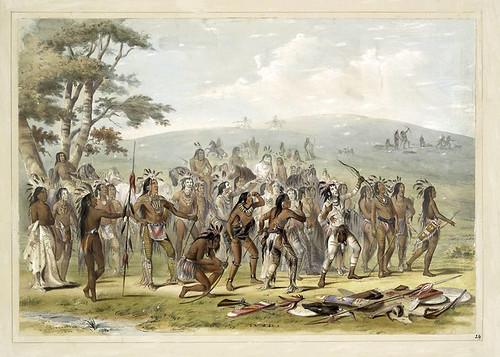 010- Tiro con arco de los Mandans-George Catlin 1845