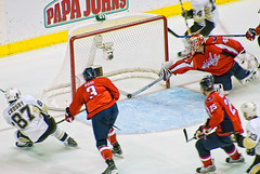 Stick Save Varlamov (clydeorama) Tags: usa net ice hockey nhl penguins washingtondc dc washington goalie pittsburgh caps icehockey center save dcist playoffs puck poti crease verizon crosby capitals varlamov nationalhockeyleague verizoncenter