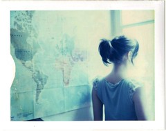The World is not Enough (emilie79*) Tags: blue selfportrait window backlight lyrics garbage polaroid180 iduvfilm