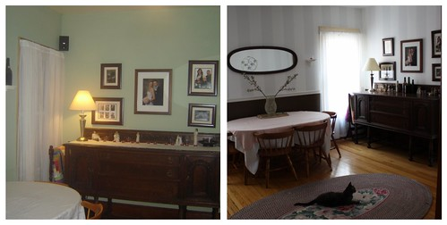 before and after dining room