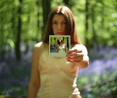 I Feel Alive (sosij) Tags: uk england selfportrait sunshine bluebells canon polaroid 50mm woodlands dof 5d fp vintageslip bluebellbokeh hitchwood treebokeh justincaseyouwantedtoknowthat silkslip ihadmyhaircuttoday haventbeenabletosaythatinyeeeaars barefootinbluebells yesitwasarealoneiwasholding