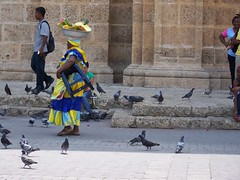 Woman with fruit on her head in Cartagena, Colombia